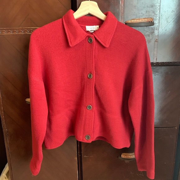 J. Crew Jackets & Blazers - Red Lambswool Coat Jacket J. Crew SMALL